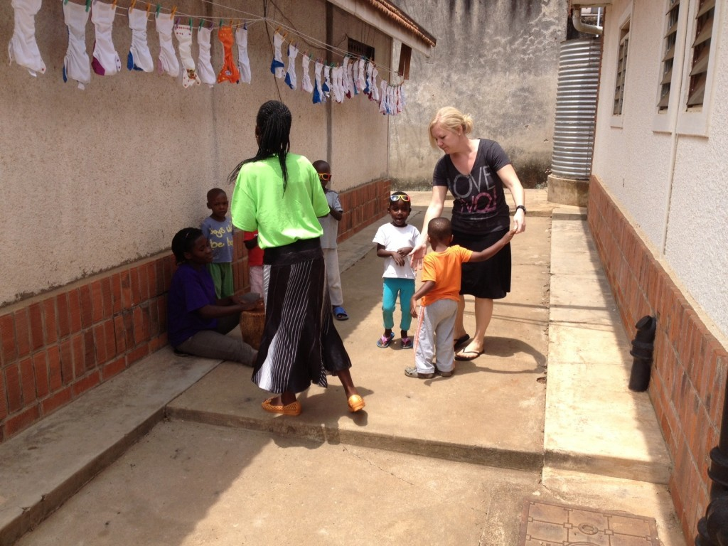 Our very own Katie Smith at the baby home.